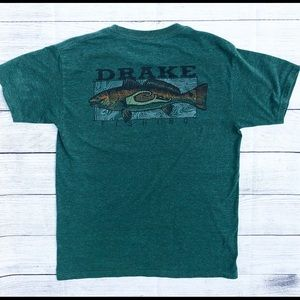 Drake Men's Fishing T-shirt Green- Medium